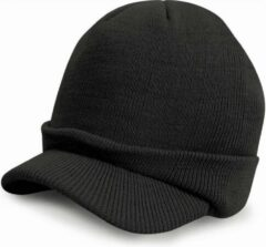 Result Trendy warme wintermuts met visor klep in het zwart voor volwassenen - Damesmutsen / herenmutsen - 100% polyacryl