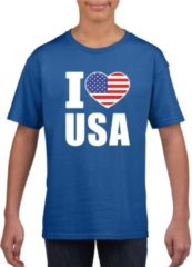 Shoppartners Blauw I love USA - Amerika supporter shirt kinderen - Amerikaans shirt jongens en meisjes S (122-128)