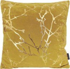 Gek op Kussens! Velvet Marble Yellow Kussenhoes | Velours - Polyester | 45 x 45 cm | Geel - Goud