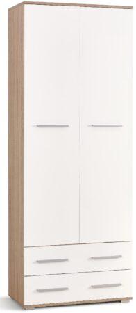 Afbeelding van Home Style Kledingkast Lima 77 cm breed in sonoma eiken met hoogglans wit