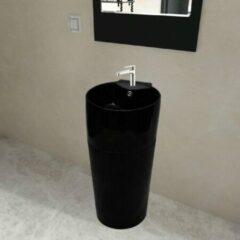 VidaXL Staande wastafel met overloop en kraangat zwart rond keramiek