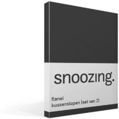 Snoozing flanel kussenslopen (set van 2) - 100% geruwde flanel-katoen - 60x70 cm - Standaardmaat - Grijs