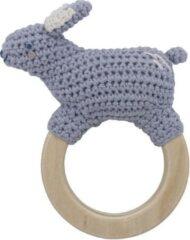 Sebra Gehaakte rammelaar konijn op ring - bluebell