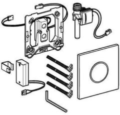 Geberit HyTronic urinoir stuursysteem Sigma 10 infrarood batterij 13x13cm glans verchroomd/mat verchroomd/glans verchroomd 116.035.KH.1