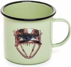 Groene 2ST BEKER creatieve kunst - ToiletPaper Eye Mug - The Eye - Seletti emaille