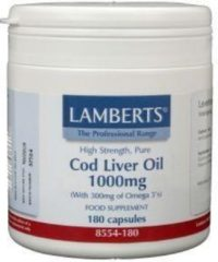 Lamberts Levertraanolie 1000 mg - 180 Capsules - Visolie - Voedingssupplement