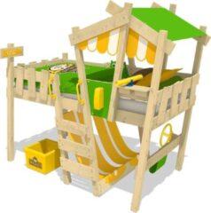 WICKEY Kinderbed, hoogslaper CrAzY Hutty geel/appelgroen dekzeil, Eenpersoonsbed, Houten bed 90x 200 cm