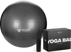 Rockerz Fitness Fitness bal - Yoga bal - Fitness bal 65 cm - Pilates bal - Gymbal - Gymbal 65 cm - Zitbal - Zwangerschapsbal - Kleur: Zwart - Beste Fitnessbal 2020