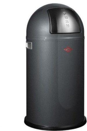 Afbeelding van Zilveren Wesco Pushboy Afvalemmer - 50 l - Grafiet