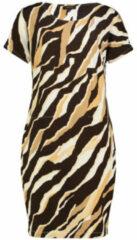 Claudia strater jurk met zebraprint lichtgeel wit donkerbruin
