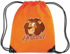 Bellatio Decorations Holland cartoon leeuw rugzakje - nylon sporttas oranje met rijgkoord - Nederland supporter - EK/ WK voetbal / Koningsdag