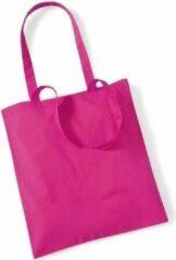 Merkloos / Sans marque 10x Katoenen schoudertasjes fuchsia 42 x 38 cm - 10 liter - Shopper/boodschappen tas - Tote bag - Draagtas