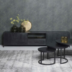 Zwarte LivingFurn TV-meubel 'Kala' Mangohout en staal, 220cm