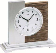Zilveren AMS Tafelklok zendergestuurd Notenhout-Aluminium 5149
