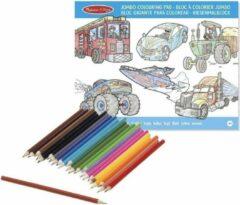 Merkloos / Sans marque Jongens kleurboek met kleurpotloden set
