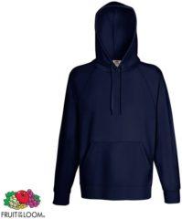 Marineblauwe Fruit of the Loom hoodie maat S heren (marineblauw)