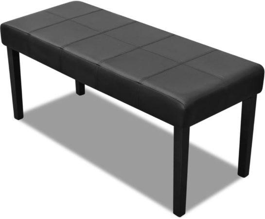 Afbeelding van Zwarte VidaXL Kunstleren bankje 106 x 43 x 46 cm (Zwart)