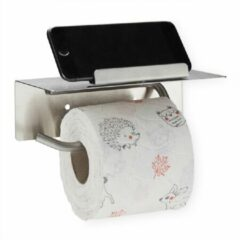 Relaxdays toiletrolhouder met plankje - wc rol houder zelfklevend - geborsteld rvs zilver