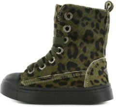Shoesme BOOTS Meisjes Biker boot - Ponyhair groen panterprint - Maat 27