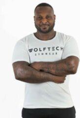 Wolftech Gymwear Sportshirt Heren - Wit - S - Slim Fit - Sportkleding Heren