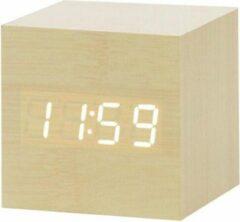 Beige Wood Clock Original Houten wekker – Alarm Clock - Cube Kubus - Hout kleur – Camping – Caravan – Camper – Reizen – Vakantie - Tijd datum temperatuur weergave – Sound control - Dimbaar – LED licht – LED display – Gratis Adapter - Draadloos met batteri