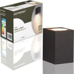 HOFTRONIC™ LED Wandlamp Zwart met 5W Dimbare GU10 spot - IP44 - 2700K Warm Wit Licht - Marion - Geschikt voor Binnen en Buiten