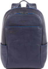 "Piquadro Blue Square Small Size Computer Backpack with iPad 10.5"" night blue"