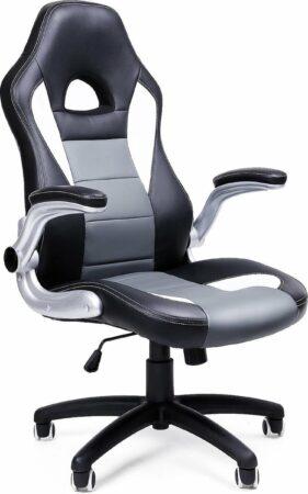 Afbeelding van Zwarte Songmics Bureaustoel - Computer Stoel - Hoogte Aanpasbaar - Opvouwbare Armleuning - OBG28G