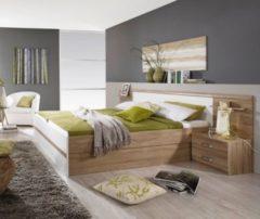 Rauch-PACKs Bett 180 x 200 cm mit Nachtkommoden und Kippaufrahmen Eiche Sonoma/ alpinweiss RAUCH PACKS Gandra