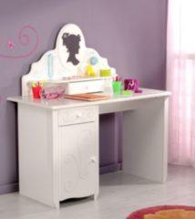 Schreibtisch mit Aufsatz weiss tiefgezogen lackiert Parisot Alice 11