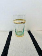 Transparante Moroccan Garden Traditioneel Beldi Glas |Set van 6 | Goud | Marokkaans Glas Design| L