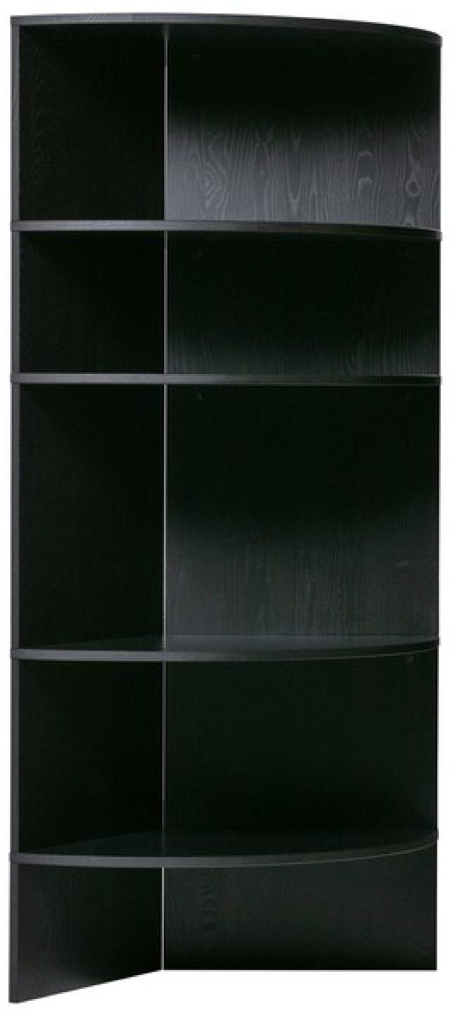 Afbeelding van Woood Boekenkast Trian tower wall zwart essenhout