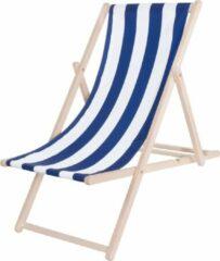 Platinet PSWSBL inklapbare strandstoel 3-standen, houten frame met stoffen bekleding blauw, wit gestreept