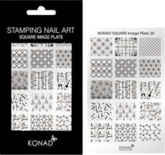 Grijze Veronica Nail Products Veronica NAIL-PRODUCTS KONAD Square stempel sjabloon 20 met 15 ' FEEST ' (kerstdagen & jaarwisseling & party) nagel figuurtjes.