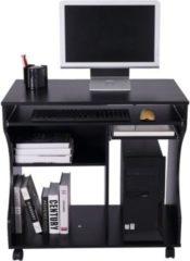 HOMCOM Computertisch rollbar mobil PC Tisch Schwarz Winkelschreibtisch Eckschreibtisch Schreibtisch