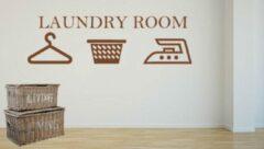 Donkerbruine Rosami Decoratiestickers Sticker Laundry room donker bruin 50 x 25 | Wasmand | Strijkijzer | Hanger | Rosami
