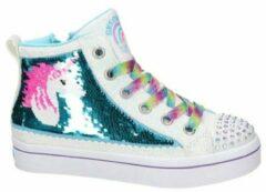 Skechers hoge sneakers met pailletten wit/blauw