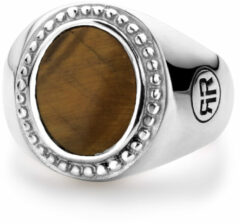 Rebel & Rose Rebel and Rose RR-RG017-S Ring Women Oval Tiger Eye zilver-bruin Maat 48