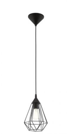 Afbeelding van Zwarte EGLO Vintage Tarbes - Hanglamp - Draadlamp - 1 Lichts - Ø170mm. - Zwart