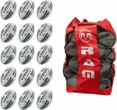 RAM Rugtby Match Rugbybal bundel - Met ballentas - 15 stuks Balmaat 4 Blauw