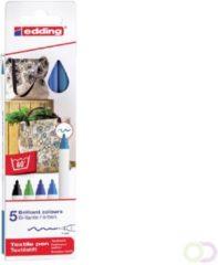 Edding textielstift 4600, set van 5 stuks in geassorteerde koude kleuren