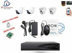 Witte Home-Locking camerasysteem met bewegingsdetectie en NVR 2.0MP H265 POE met 2 binnen en 2 buitencamera's 2.0MP CS-4-1405D