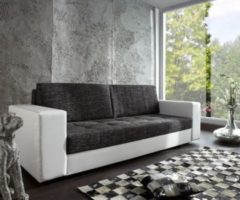 DeLife Couch Giorgio Weiss Schwarz 250x100 Schlafsofa inklusive Bettkasten