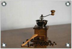 Bruine KuijsFotoprint Tuinposter –Oude Koffiemaler met Koffiebonen – 120x80 Foto op Tuinposter (wanddecoratie voor buiten en binnen)