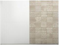 Pesaro Mobilia Kledingkast Perez 275 cm breed in mat wit met sonoma eiken