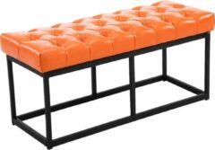 Clp Zitbank AMUN - bekleed en benopt, kunstleer - oranje, breedte 100 cm
