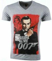 Grijze T-shirt Korte Mouw Mascherano T-shirt - James Bond From Russia 007 Print