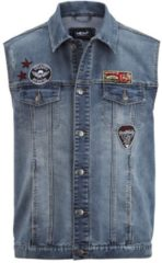 Weste Jog-Denim mit Patches Men Plus blue beached used