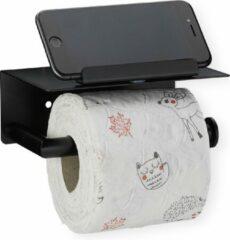 Relaxdays toiletrolhouder met plankje - wc rol houder rvs - wandmontage - telefoon - zwart