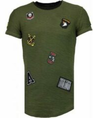 Blauwe Justing Exclusief Military Patches - T-Shirt - Groen Heren T-shirt L